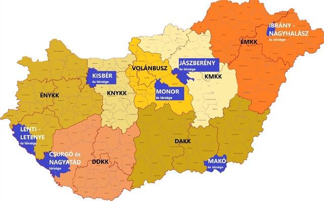 Kékkel a kis, egyéb színekkel a nagy régiók, a feliratok a jelenlegi szolgáltatókat jelölik. Forrás: G7, állami háttéranyag
