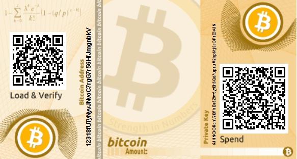 Papíralapú offline-pénztárca, titkos és nyilvános kóddal