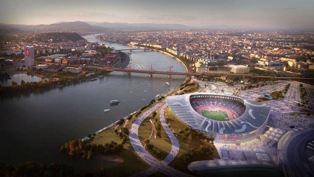 az Olimpiai Park helyszíncsoportban található Olimpiai Atlétikai Stadionról, amely a IX., X. és XXI. kerületekben, a Kvassay-zsilip térségében van, és az esetleges 2024-es budapesti olimpia egyik helyszíne lesz. (Forrás: MTI)