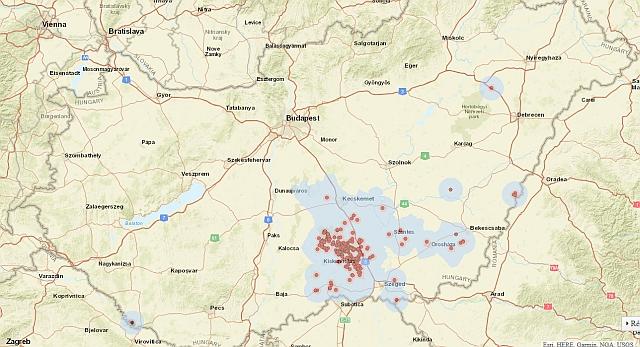 Madárinfluenza-kitörési pontok, védőkörzetek (3 km, piros) és megfigyelési körzetek (10 km, szürke) a Nébih térképén - 2017. január 12-i állapot