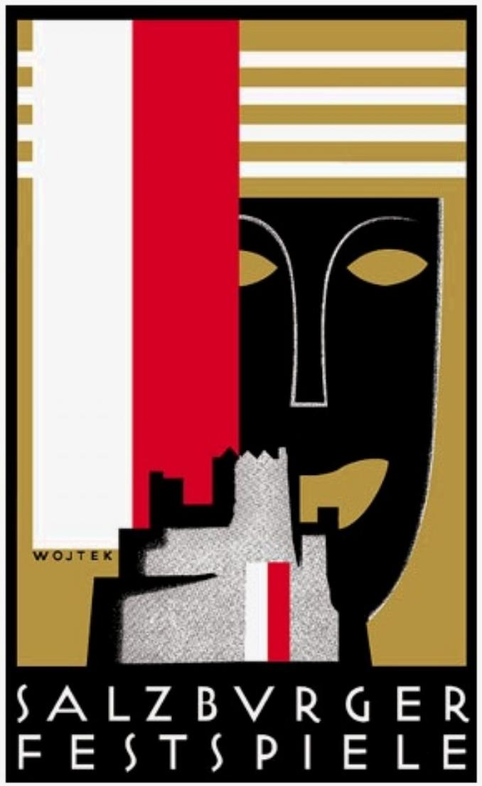 Poldi Wojtek grafikus az 1928-as fesztiválhoz tervezte ezt a plakátot - azóta is ezt használják.