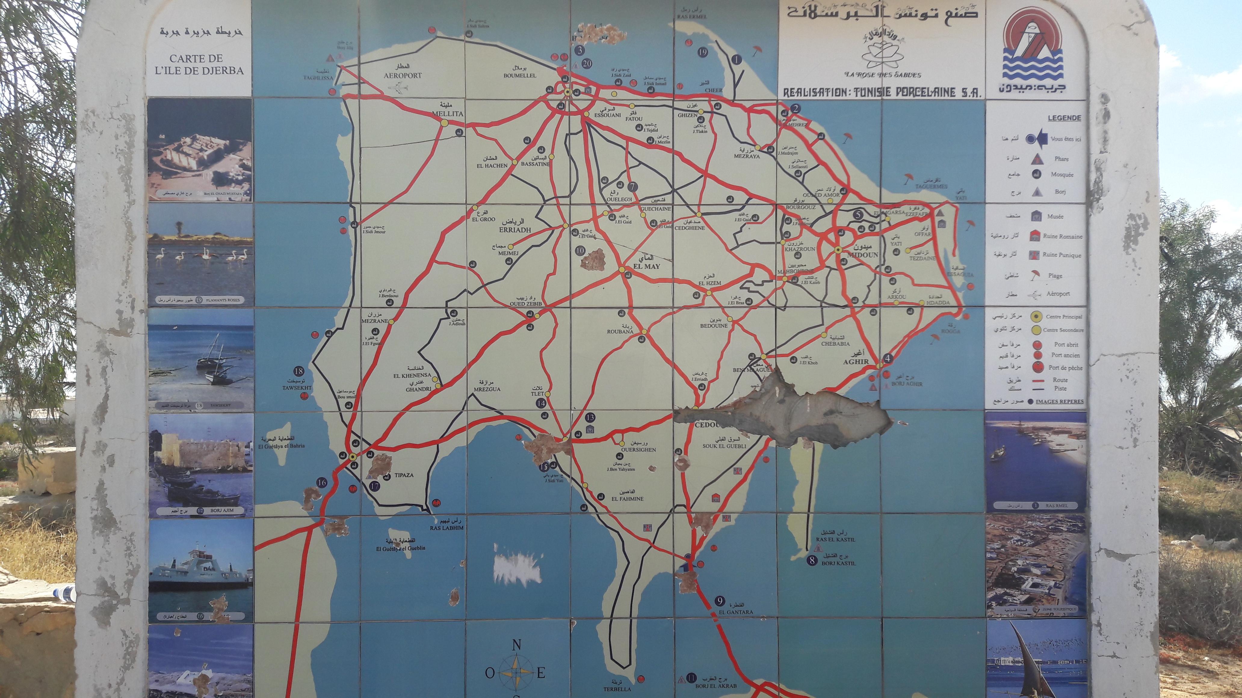 Djerba térképe (Fotó: Valkai Nikoletta)