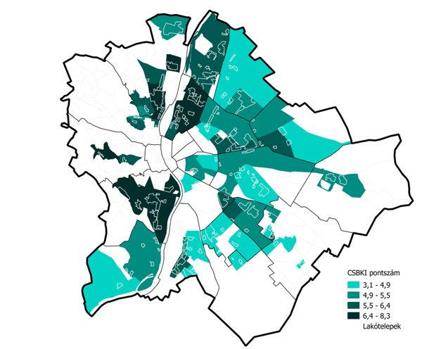 Budapest lakótelepei illetve FHB Családbarát Környék Indexeik (Forrás: FHB CSBKI)