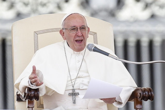 Ferenc pápa vatikánni audienciája. Fotó: MTI/EPA/Fabio Frustaci