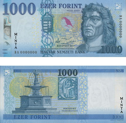 Az új ezresre egy holló is került, ami a bankjegyet mozgatva szívárványszínben játszik