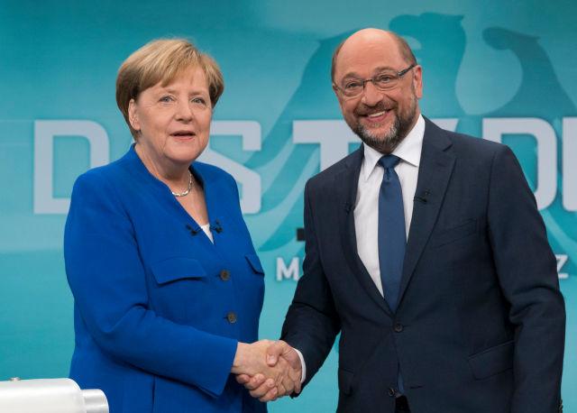 Angela Merkel és Martin Schulz (Forrás:EPA/HERBY SACHS WDR/POOL)
