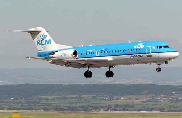 Egy Fokker 70-es, még a KLM szolgálatában.Forrás: Wikimedia Commons