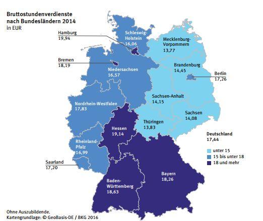 Órabérek az egyes német tartományokban 2014-ben