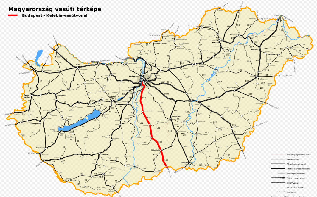 A Budapest-Kelebia vasútvonal (Forrás: hu.wikipedia.org)