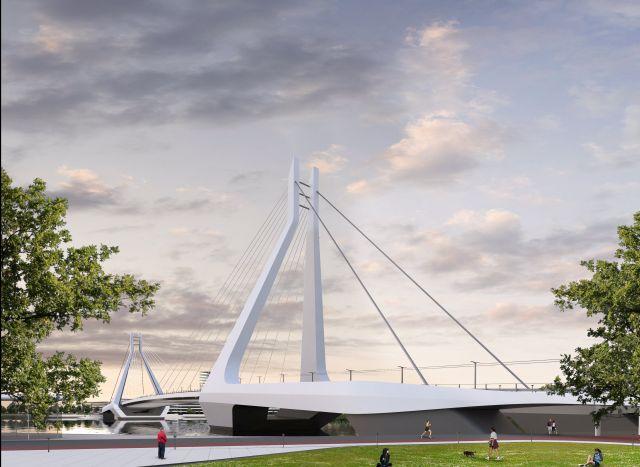 Az UNStudió és a Buro Happold Engineering alkotta konzorcium által 2018. április 20-án közzétett látványterve Budapesten felépülő, Dél-Budát és Csepelt összekötő hídról. (MTI Fotó: UNStudió és a Buro Happold Engineering)