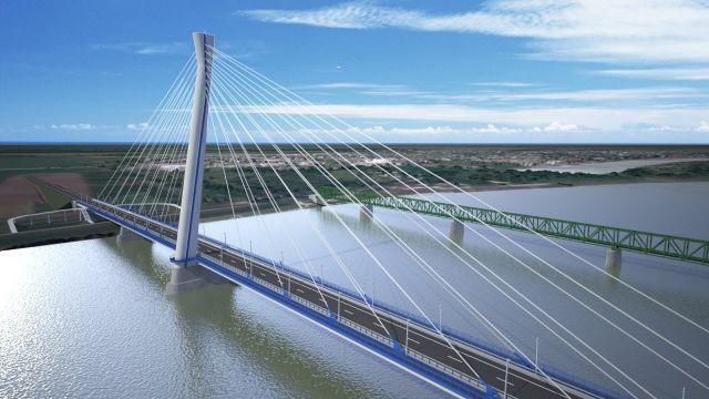 Az A.D.U. Építész KFT. által tervezett új komáromi Duna-híd látványterve. (Forrás: MTI Fotó, A.D.U. Építész KFT.)