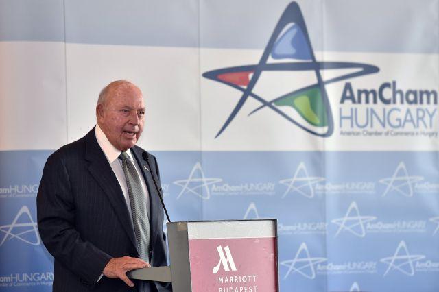 David B. Cornstein, az Egyesült Államok budapesti nagykövete az Amerikai Kereskedelmi Kamara (AmCham) üzleti fórumán a Budapest Marriott Hotelben 2018. szeptember 4-én. MTI Fotó: Máthé Zoltán