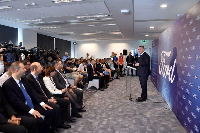 Molnár Viktor, a Ford regionális igazgatója beszédet mond az amerikai Ford új regionális szolgáltató központjának átadási ünnepségén (MTI Fotó: Illyés Tibor)