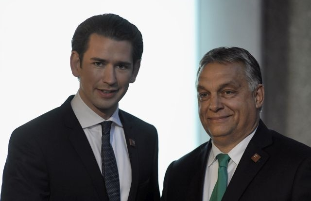 Federal Chancellor of Austria Sebastian Kurz (L) and Prime Minister of Hungary Viktor Orban (R) pose as they arrive for a dinner at the Felsenreitschule theatre, during the European Union's (EU) Informal Heads of State Summit in Salzburg, Austria, 19 September 2018. EU countries' leaders meet on 19 and 20 September for a summit to discuss internal security measures, migration and Brexit. EPA/CHRISTIAN BRUNA