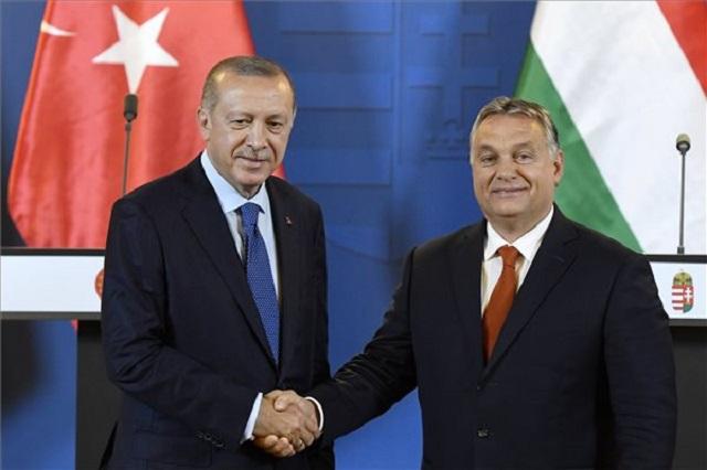 Recep Tayyip Erdogan török elnök és Orbán Viktor miniszterelnök az Országházban 2018. október 8-án. (MTI Fotó: Koszticsák Szilárd)