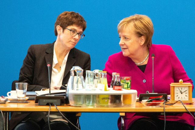 CDU Secretary General Annegret Kramp-Karrenbauer, German Chancellor Angela Merkel, prior to a Federal Board Meeting of the Christian Democratic Union (CDU) at the CDU's headquarters in Berlin, Germany, 29 October 2018. According to reports from 29 October 2018, Kramp-Karrenbauer said she would run as candidate for CDU chairwoman to succeed Chancellor Merkel in that office. EPA/OMER MESSINGER