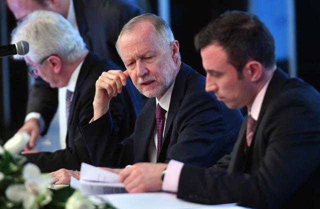 Bogsch Erik, az igazgatóság elnöke és Orbán Gábor vezérigazgató a Richter Gedeon Nyrt. áprilisi közgyűlésén. MTI Fotó: Máthé Zoltán