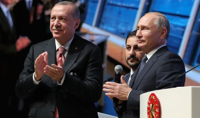Turkish President Recep Tayyip Erdogan (front L) and Russian President Vladimir Putin (front R) attend a ceremony marking the completion of the TurkStream gas pipeline's offshore section in Istanbul, Turkey, 19 November 2018. TurkStream will directly connect the large gas reserves in Russia to the Turkish gas transportation network, to provide reliable energy supplies for Turkey, south and south-east Europe. EPA/MICHAEL KLIMENTYEV / SPUTNIK / KREMLIN POOL MANDATORY