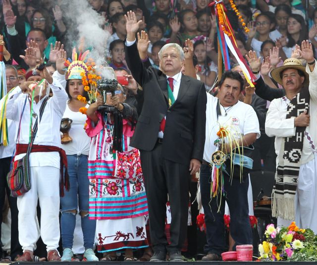 The new President of Mexico, Andres Manuel Lopez Obrador (C) waves to supporters during his inauguration ceremony in Mexico City, Mexico, 01 December 2018. EPA/MARIO GUZMAN