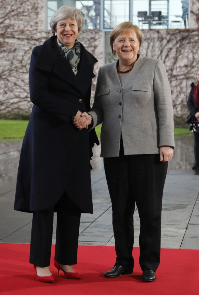 German Chancellor Angela Merkel (R) welcomes British Prime Minister Theresa May (L) at the chancellery in Berlin, Germany, 11 December 2018. British Prime Minister Theresa May postponed the Brexit deal Meaningful Vote, on 11 December 2018 due to risk of rejection from Members of Parliament. Theresa May is currently on a whistle stop tour of Europe calling on the leaders of the Netherlands, Germany and EU in Brussels looking for new guide lines for her Northern Ireland backstop. EPA/FILIP SINGER