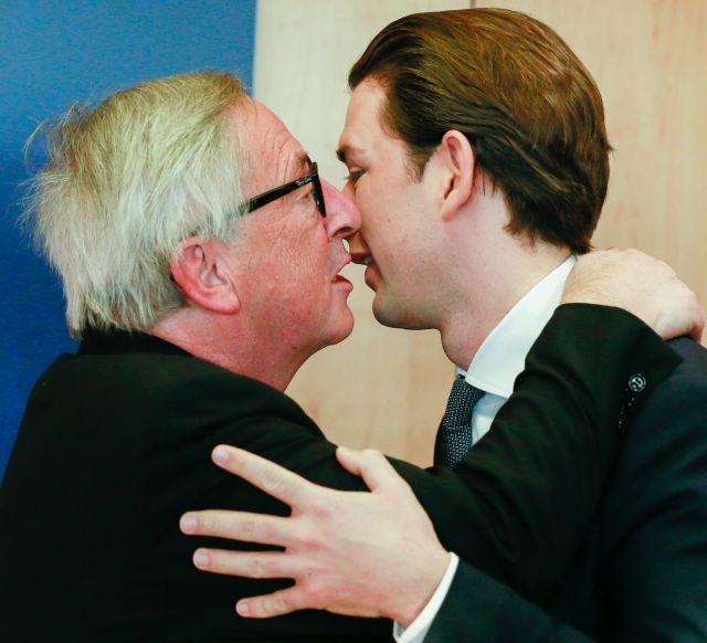 Austrian Chancellor Sebastian Kurz (R) is welcomed by European Commission President Jean-Claude Juncker ahead of a meeting at the European commission in Brussels, Belgium, 13 December 2018. EPA/STEPHANIE LECOCQ