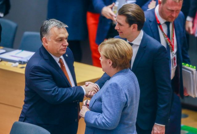 German Federal Chancellor Angela Merkel (C), Hungarian Prime Minister Viktor Orban (L) and Austrian Chancellor Sebastian Kurz (R) attend the European Council in Brussels, Belgium, 14 December 2018. At the second day of the summit of EU leader the meeting will focus on the conclusions on the Single Market, climate change, migration, disinformation, the fight against racism and xenophobia, and citizens' consultations. EPA/STEPHANIE LECOCQ