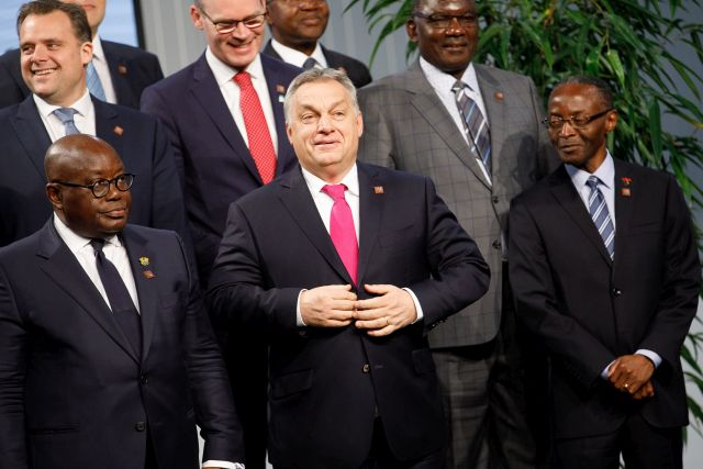 Hungarian Prime Minister Viktor Orban (C) is flanked by two unidentified African countries'representatives as they pose during a group photo opportunity at the High-Level Forum Africa-Europe at the Austria Center Vienna (ACV) in Vienna, Austria, 18 December 2018. The forum is an event to provide a space for European and African leaders, together with CEOs of major global companies, innovation champions, start-ups and other stakeholders, to reflect and act on what needs to be done to secure prosperity and competitiveness on both continents as well as to deepen the relationship in all its aspects with a specific focus on taking our cooperation to the digital age. EPA/FLORIAN WIESER EPA-EFE/FLORIAN WIESER