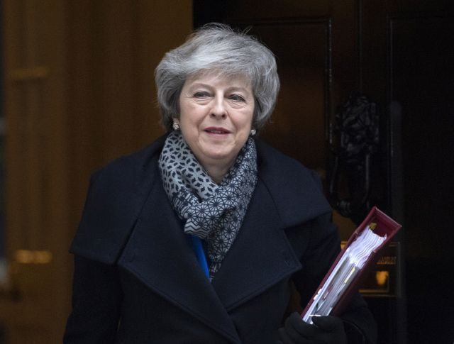 British Prime Minister Theresa May leaves 10 Downing Street for the Houses of Parliament to attend Prime Ministers Questions (PMQs) in London, Britain, 16 January 2019. Britain's Prime Minister May is facing a confidence vote in parliament after she lost the The Meaningful Vote parliamentary vote on the EU withdrawal agreement on 15 January. EPA/FACUNDO ARRIZABALAGA