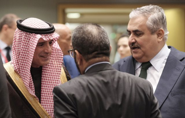 epa07342226 Saudi Arabia Foreign Minister Adel al-Jubeir and Bahraini Foreign Minister Khalid bin Ahmed Al Khalifa (R) during the EU / Arab League Foreign ministers meeting in Brussels, Belgium, 04 February 2019 EPA/OLIVIER HOSLET