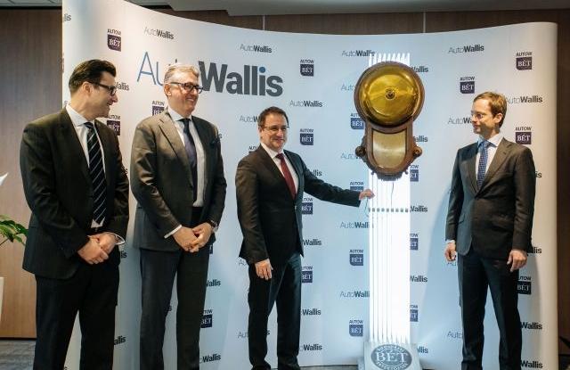 Ünnepélyes becsengetés az AutoWallis részvények kereskedésének nyitásakor. Forrás: BÉT