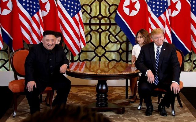 A video grab shows US President Donald J. Trump (R) and North Korean leader Kim Jong-un (L) during the start of their second one on one meeting at the US-North Korea summit at the Sofitel Legend Metropole hotel in Hanoi, Vietnam, 28 February 2019. The second meeting of the US President and the North Korean leader, running from 27 to 28 February 2019, focuses on furthering steps towards achieving peace and complete denuclearization of the Korean peninsula. EPA/HOST BROADCAST / POOL (CORRECTION)