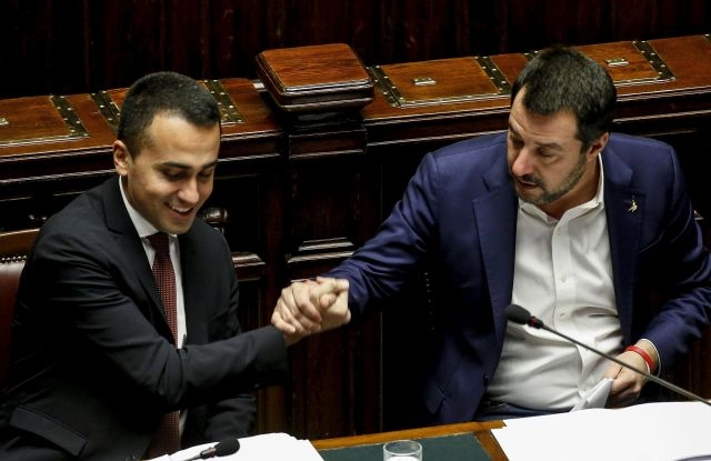 Italian Deputies Premier Matteo Salvini (R) and Luigi Di Maio during a Question Time at the Chamber of Deputies, in Rome, Italy, 13 February 2019. EPA/FABIO FRUSTACI