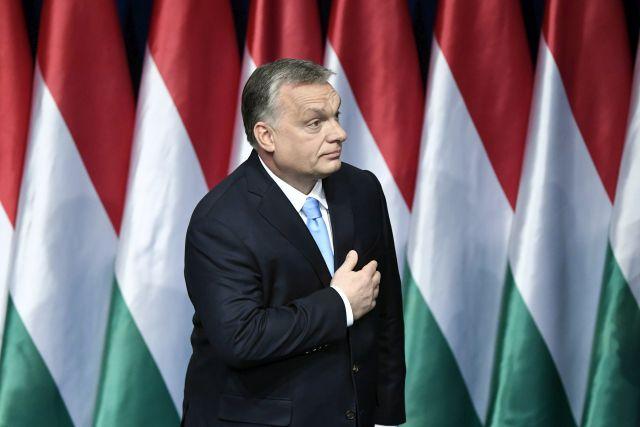 Orbán Viktor miniszterelnök évértékelő beszéde után a Várkert Bazárban  2019. február 10-én. 222fa9a1fc