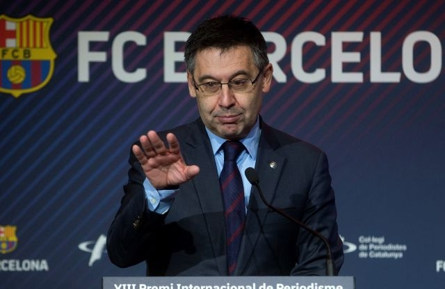 FC Barcelona's president, Josep Maria Bartomeu, delivers a speech during an event of the 13th Manuel Vazquez Montalban Journalism Award held in Barcelona, Catalonia, Spain, 12 February 2019. The Manuel Vazquez Montalban Journalism Award is a prize granted by FC Barcelona Foundation and Association of Catalan Journalists, created in 2004. Italian journalist Emanuela Audisio is the first woman who wins the award. EPA/Quique Garcia