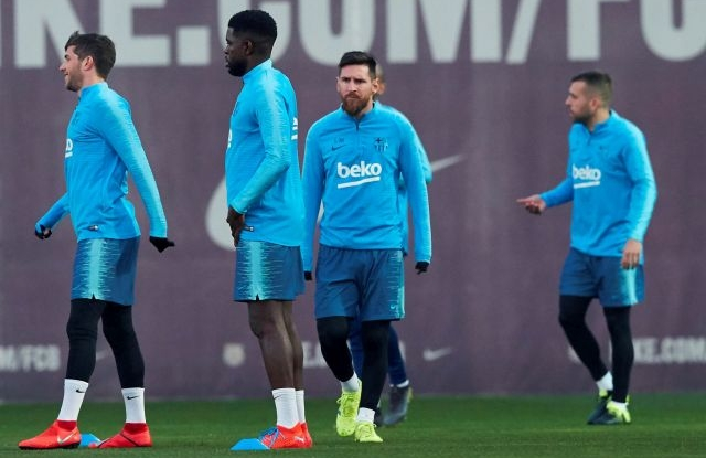 FC Barcelona's forward Leo Messi attends a training session at the Sant Joan Despi sports facilities in Barcelona, Catalonia, north eastern Spain, 01 March 2019. FC Barcelona will face Real Madrid on a Spanish LaLiga soccer match at the Santiago Bernabeu stadium on 02 March. EPA/Alejandro Garcia
