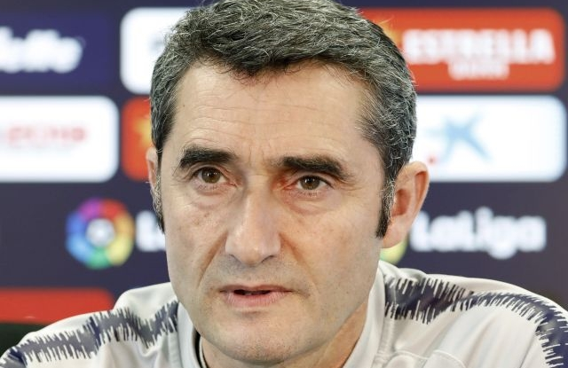 FC Barcelona's head coach Ernesto Valverde attends a press conference at Joan Gamper facilities in Barcelona, Catalonia, Spain, 08 March 2019. FC Barcelona will face Rayo Vallecano during a Spanish LaLiga match at Camp Nou stadium on 09 March 2019. EPA/Andreu Dalmau