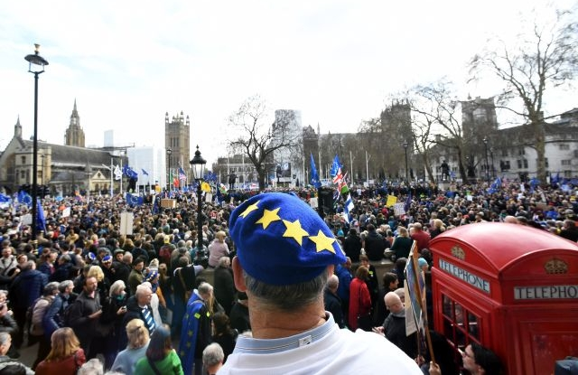 People attend the 'Put it to the People' march in London, Britain, 23 March 2019. Hundreds of thousands of people take part in the protest calling for a referendum on the final Brexit deal. EPA/FACUNDO ARRIZABALAGA