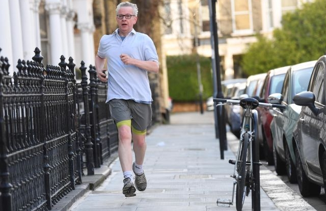 Britain's Environment Secretary Michael Gove runs in London, Britain, 25 March 2019. Gove was named as a potential Caretaker in media reports of a possible cabinet coup. But he told reporters he wanted to fully support Theresa May. He said, it is 'not the time to change the captain of the ship'. EPA/NEIL HALL