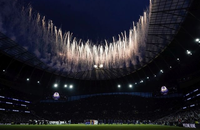 Fireworks are set off ahead of the English Premier League soccer match between Tottenham Hotspur and Crystal Palace at the Tottenham Hotspur Stadium in London, Britain, 03 April 2019. EPA/WILL OLIVER