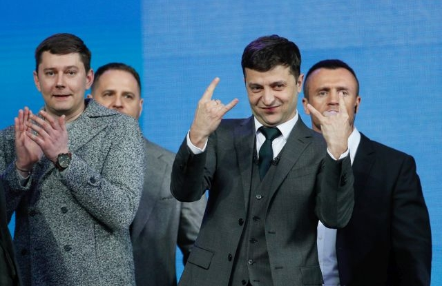 Ukrainian Presidential candidate Volodymyr Zelensky reacts during a debate with Petro Poroshenko at the Olimpiyskiy Stadium in Kiev, Ukraine, 19 April 2019. Presidential candidates Petro Poroshenko and Volodymyr Zelensky visit the Olimpiyskiy Stadium to take part in the debates ahead of the second round of the presidential elections which will be held on 21 April 2019. After the first round of elections, showman Volodymyr Zelensky remains a frontrunner with 30.24 percent of votes and incumbent president Petro Poroshenko is a runner-up with 15.95 percent of votes. EPA/SERGEY DOLZHENKO