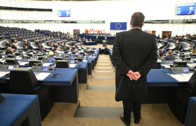 An usher watches the debate on the future of the EU at the European Parliament in Strasbourg, France, 17 April 2019. EPA/PATRICK SEEGER