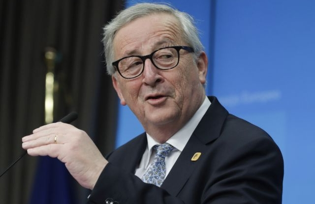 European Commission President Jean-Claude Juncker speaks at a press conference after a special EU summit on Brexit at the European Council in Brussels, Belgium, 11 April 2019. EU leaders gathered for an emergency summit in Brussels to discuss a new Brexit extension. EPA/OLIVIER HOSLET