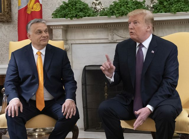 US President Donald J. Trump speaks to the media as he meets with the Prime Minister of Hungary Viktor Mihaly Orban at the White House, Washington, DC, USA, 13 May 2019. Their meeting marks the first time a US president has granted Orban a formal visit in more than 20 years. EPA/Chris Kleponis / POOL