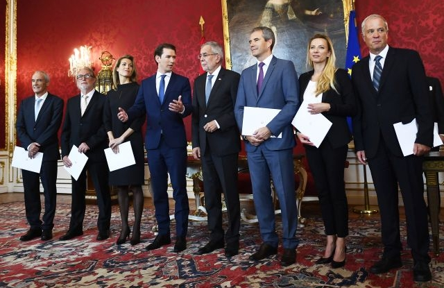 Austrian President Alexander Van der Bellen (center R) and Austrian Chancellor Sebastian Kurz (center L) pose with the new Austrian Ministers (from left) Eckart Ratz (Interior), Walter Poeltner (Social Affairs), Valerie Hackl (Transport, Innovation and Technology), Hartwig Loeger (vice-chancellor), Juliane Bogner-Strauß (Civil Service and Sports and Johann Luif (Defence Minister) during the swearing-in ceremonmy at the Presidential residence in Vienna, Austria, 22 May 2019. President Van der Bellen confirmed on 21 May 2019 that all ministers of the right-wing Austrian Freedom Party (FPOe), the junior member of the coalition government, have stepped down in a move triggered by the sacking of Interior Minister Herbert Kickl (FPOe) by Chancellor Sebastian Kurz. They will be replaced with technocrats to form an interim government until new elections in September 2019. This comes in the aftermath of Austrian Vice Chancellor and FPOe party leader Heinz-Christian Strache's resignation on 18 May 2019 from his post as he was caught in a corruption allegations scandal. EPA/CHRISTIAN BRUNA
