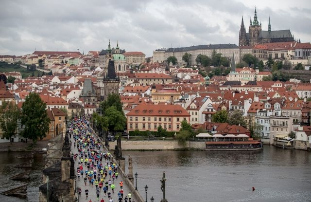Runners cross the Charles Bridge during the Prague International Marathon in Prague, Czech Republic, 05 May 2019. About 10,600 runners took part in the race. EPA/MARTIN DIVISEK