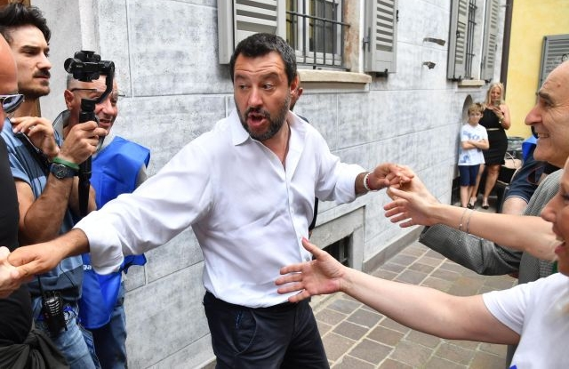 Italian Deputy Premier and Interior Minister Matteo Salvini, shakes hands to sympathizers upon his arrival to attend an election campaign rally for Massimiliano Aliprandi, the Lega candidate mayor in Novate Milanese, north of Milan, Italy, 07 June 2019. EPA/DANIEL DAL ZENNARO