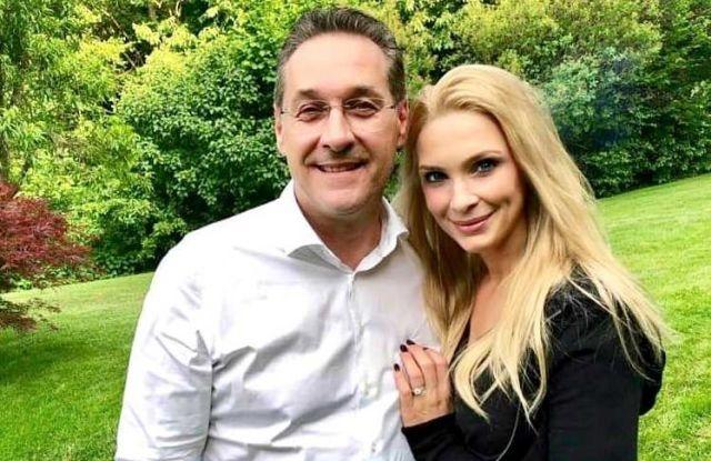 Heinz-Christian Strache és felesége, Philippina 2019. június 12-én, a politikus 50. születésnapján. Forrás: Facebook
