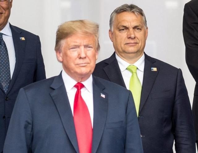 Orbán Viktor és Donald Trump a NATO brüsszeli csúcsértekezletén 2018. júliusában. Eredeti kép: MTI Fotó - Miniszterelnöki Sajtóiroda / Botár Gergely