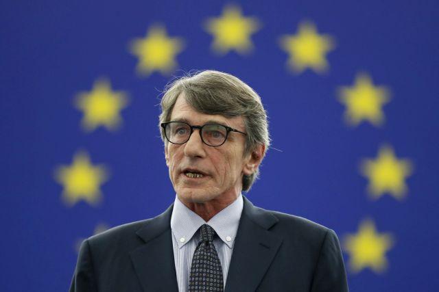 Az olasz szociáldemokrata David-Maria Sassoli, az Európai Parlament újonnan megválasztott elnöke a parlament plenáris ülésén tartott szavazás után Strasbourgban 2019. július 3-án. MTI/AP