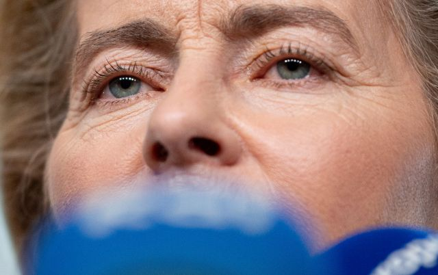 German Defense Minister Ursula von der Leyen and nominated President of the European Commission gives a statement at the European Parliament, in Strasbourg, France, 03 July 2019 after the EPP faction meeting. EPA/PATRICK SEEGER